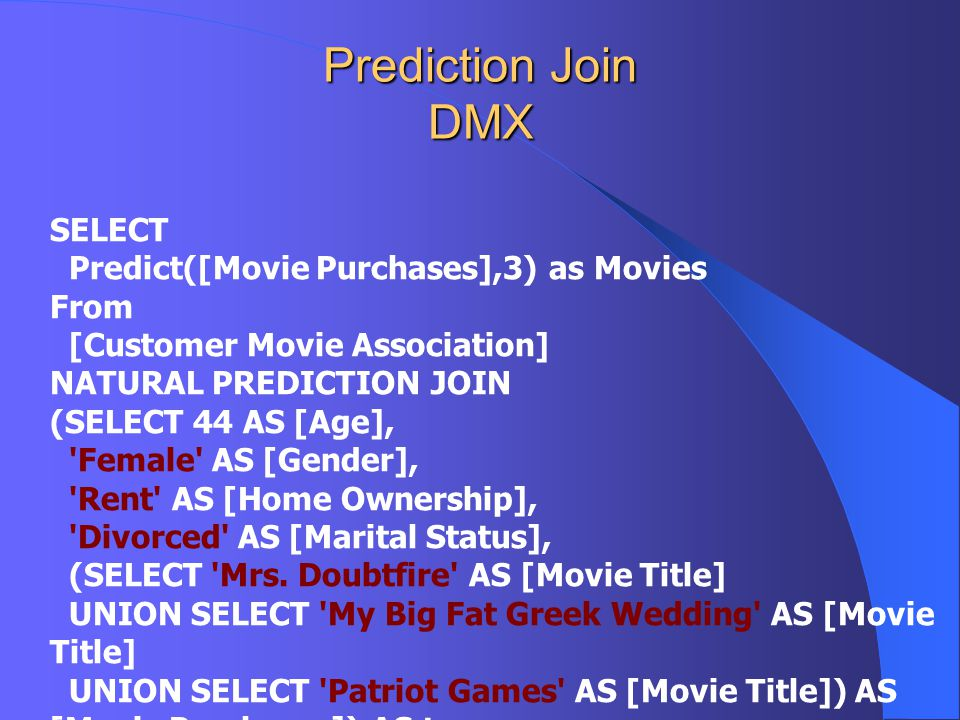 Prediction Join DMX SELECT Predict([Movie Purchases],3) as Movies From